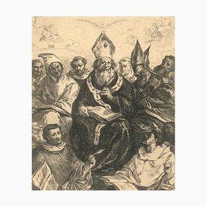 Saint Basile - Originale Radierung in Weiß und Schwarz nach F. Herrera the Old 1859