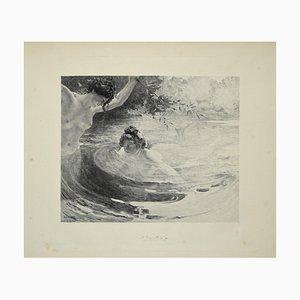 Baigneuses - Original Etching by L. Lacouteux - 1899