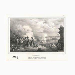Napoléon à Montereau - Original Lithographie von H. Bellange - 1828
