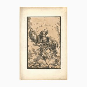 Soldier - Original Xilograph on Paper by Master JK - 17th Century Beginning of 1600