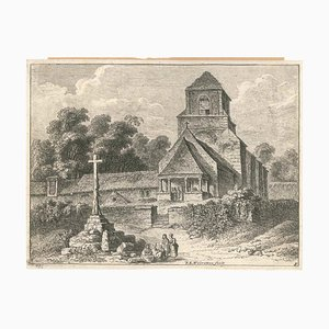 Old Church - Original Etching by F.E. Weirotter - Mid 1700