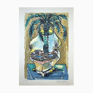 The Vase - Original Lithograph by Ercole Pignatelli - 1972