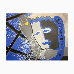 Blue Masquerade - Original Tempera on Paper by Maurice Rouzée - 1940s 1940s