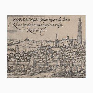 Carte de Nordlingen Antique de''Civitates Orbis Terrarum '' 1572-1617