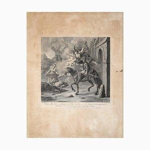 Don Quichotte conduit par la Folie - Original Etching by Louis Surugne - 1730