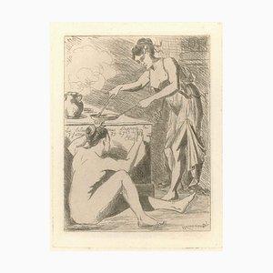 Le dîner - Original Etching by L.-A. Letoureau - End of 19th Century