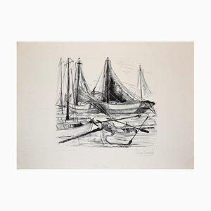 Port de Pêche - Original Etching by Claude Piechaud - Second Half of 20th Century