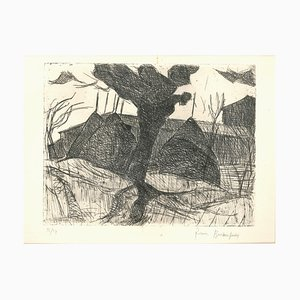 Huts - Original Etching by Pierre Boncompain - Late 20th Century