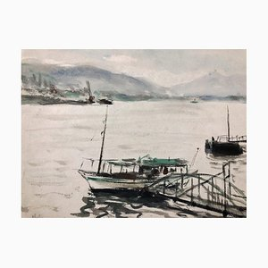 The Lake - Original Tempera on Paper - 1950 ca. 1950 ca.
