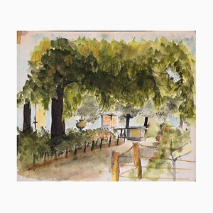 The House and the Garden - Watercolor and Pencil on Paper Early 20th Century 1890-1930