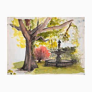 The Fountain in the Garden - Watercolor on Paper - Beginning of 20th Century 1900-1930