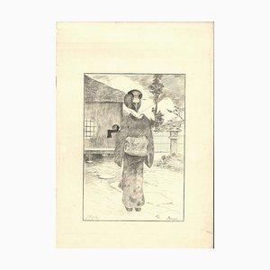 Servante - Original Etching on Japan Paper by G. F. Bigot - Tokyo 1886 1886