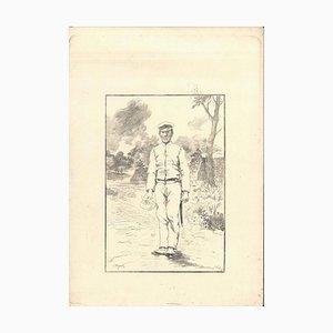 Soldat - Original Radierung auf Japanpapier von GF Bigot - Tokyo 1886