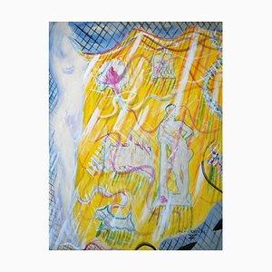 Golden Fantasy - Origianl Tempera auf Papier von Maurice Rouzée- 1940er 1940er