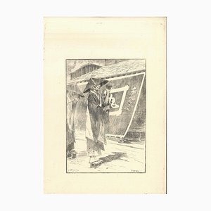 Bonzes - Original Etching on Japan Paper by G. F. Bigot - Tokyo 1886