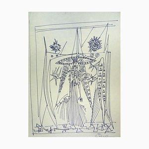Figures - Original Penmarker on Paper by Michel Cadoret - 1955 1955