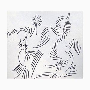 Abstrakte Komposition - Original Penmarker auf Papier von Michel Cadoret 1950er