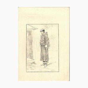 Gendarme - Original Radierung auf Japanpapier von GF Bigot - Tokyo 1886