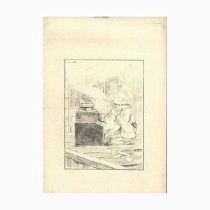 La Servante - Original Radierung auf Japanpapier von GF Bigot - Tokyo 1886 1886