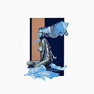 Blue Woman - Original Screen Print by Oscar Pelosi - 1970s 1970s