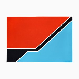 Sky Blue and Red Composition - Original Siebdruck von Renato Barisani - 1977