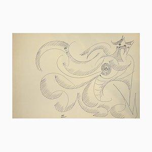 Abstract Composition - Original China Tusche auf Papier von Michel Cadoret - 1950er