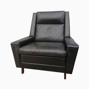 Mid-Century Black Leather Easy Chair from Leolux, 1960s