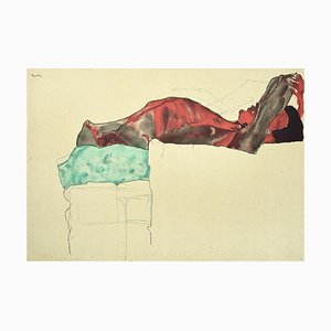 Nu Mâle Inclinable Inclinable pour Homme - 2000s - Lithograph After Egon Schiele