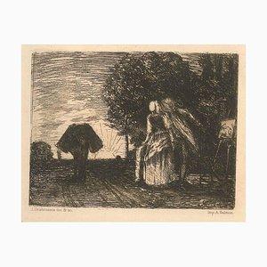 L'Heure du Berger - Original Etching by J. Desbrosses 19th Century