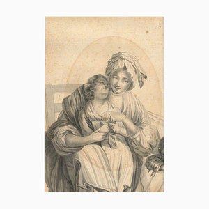 Jungfrau Maria mit Jesuskind - Original Gouache auf Karton von HJ Dubouchet 1855