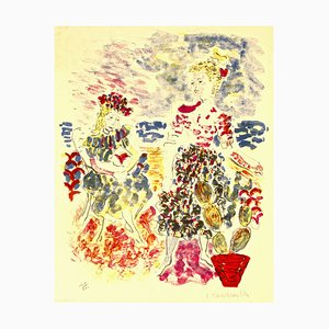Bridesmaids with Flowers - Original Lithograph by C. Terechkovitch Late 1900