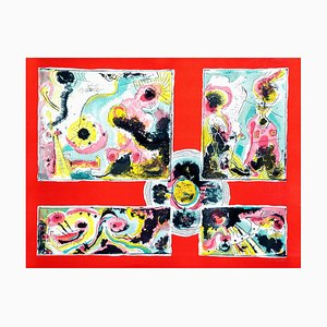 Red Abstract - Original lithograph by Le Oben - 1970 ca.