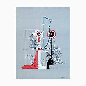 Signals Dialoguing - Original Lithograph by Mario Persico - 1970 ca.