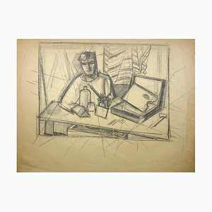 The Painter and his Work - Charcoal Drawing by Gio Colucci - 20th Century Mid 1900