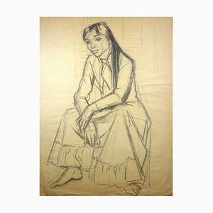 Young Woman Sitting - Charcoal Drawing by Gio Colucci - 20th Century Mid 1900