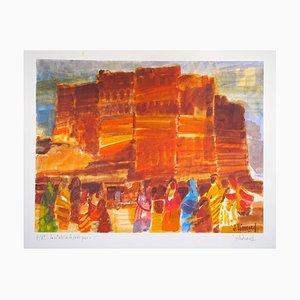 La Citadelle de Jodhpur - Original Lithograph by Jacques Leonard - Late 1900
