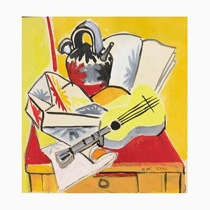 La Guitare (The Guitar) - Original Tempera by Henry Wormser 1956