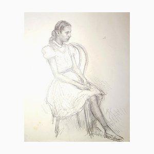 Girl - Original Bleistiftzeichnung von JL Rey Vila - 1959