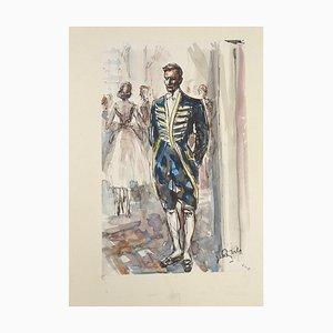 Butler - Original Mixed Media (Ink and Watercolor) by J.L. Rey Vila Second Half of 1900