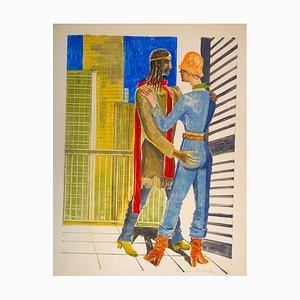 Aphrodite und Anchise - Emile Deschler - 1970er - Aquarell 1977