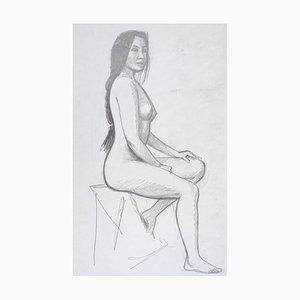 Sitting Nude Model - Original Pencil Drawing on Cardboard by Emile Deschler 1986