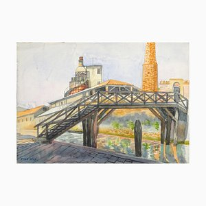 Paris Cityscape - Original Watercolor on Paper by Jane Levy - Late 1900 Late 1900