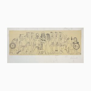 Mythological Scene - Original Ink Drawing on Parchment by Buscot mid 1900