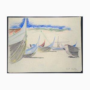 Boats - Original Pastel on Paper von Emile Deschler - 1980s 1980s