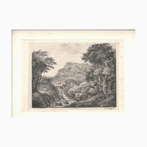 Naturlandschaft mit Figuren - Original Lithographie nach Zuccarelli 1821