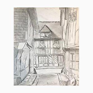 The Village - Original Bleistiftzeichnung auf Papier von M. Frouin Mid 1900