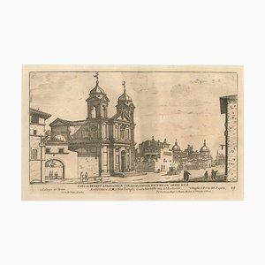 Chiesa di Sant'Athanagio e Collegio della Natione de Greci - Gravure à l'Originale Seconde Monnaie du 17ème Siècle