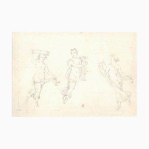 The Three Graces - Original Bleistiftzeichnung auf Papier 20. Jahrhundert