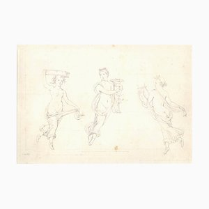 The Three Graces - Original Pencil Drawing on Paper 20th Century