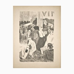 Marketplace - Original Lithograph by M. L. Savin 20th century